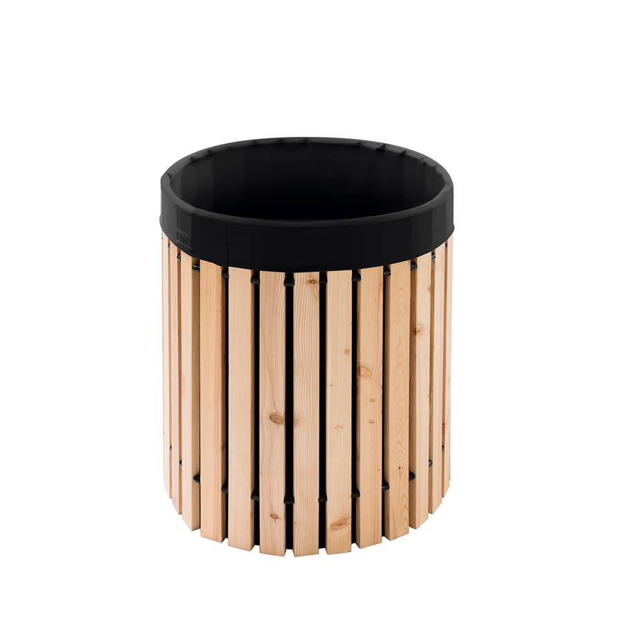 beckmann regenfass 200 liter aus l rchenholz mit schwarzer. Black Bedroom Furniture Sets. Home Design Ideas