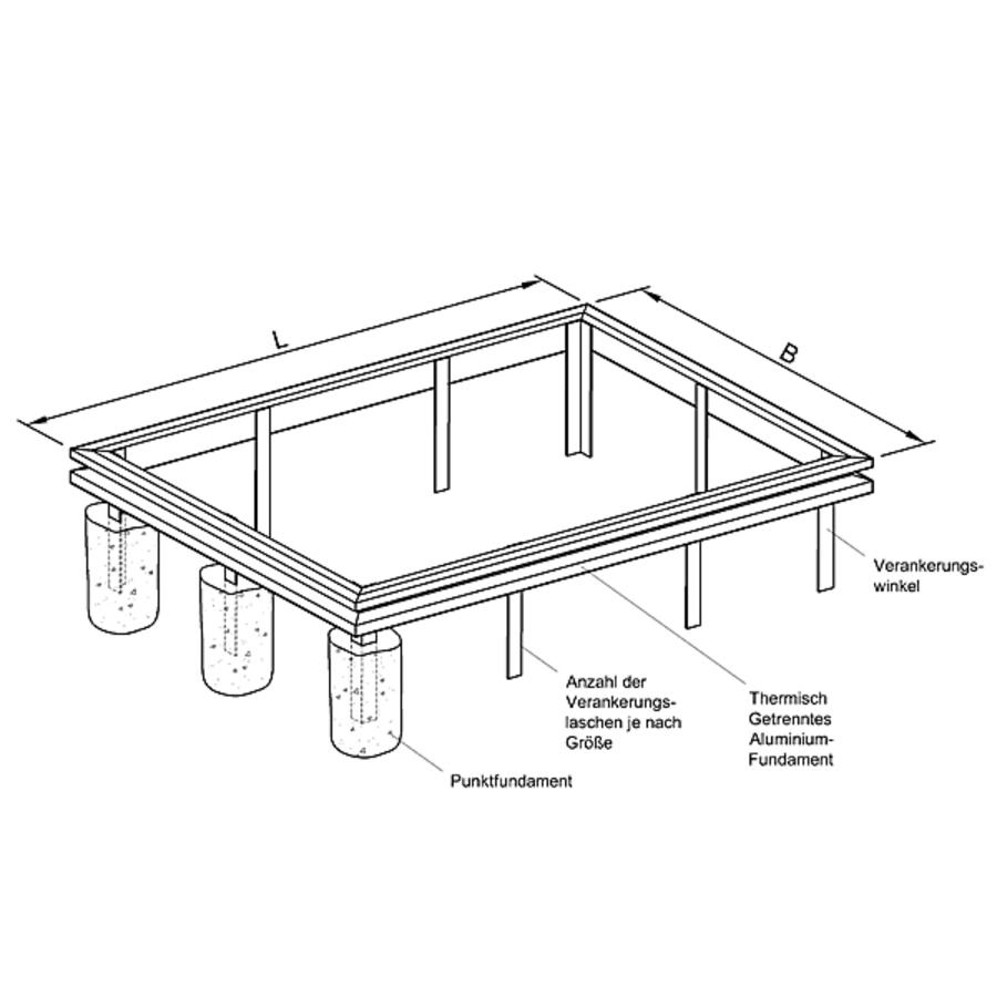aluminiumfundament f r gew chshaus plan11 typ plantarium fundament gew chshaus zubeh r. Black Bedroom Furniture Sets. Home Design Ideas