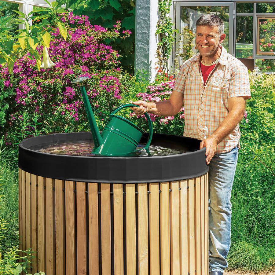 beckmann regenfass 800 liter aus l rchenholz mit schwarzer. Black Bedroom Furniture Sets. Home Design Ideas