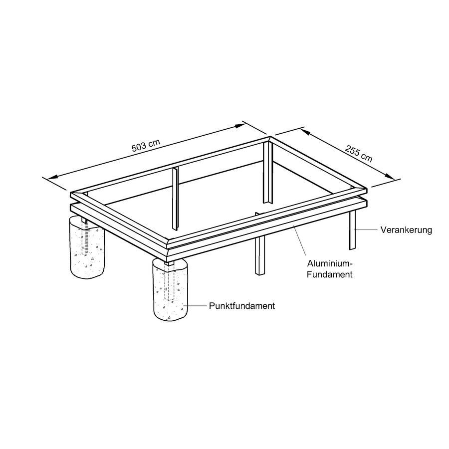 Aluminium Fundament Für Gewächshaus Modell S130 Typ Allgäu Modell