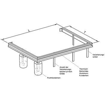 aluminiumfundament f r wintergarten apla4 fundament modell apla zubeh r modell apla. Black Bedroom Furniture Sets. Home Design Ideas