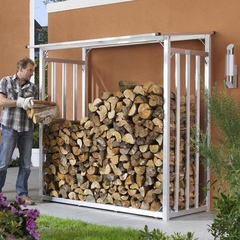 Holzlager - Kaminholz-Lager Größe 2 Aluminium natur 201 x 104 x 199 cm