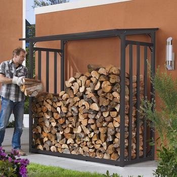 Holzlager - Kaminholz-Lager Größe 2 Anthrazitgrau einbrennlackiert 201 x 104 x 199 cm